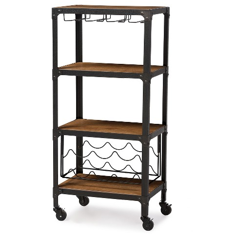 Swanson Rustic Industrial Style Antique Black & Metal Distressed Wood  Mobile Kitchen Bar Wine Storage Shelf - Baxton Studio
