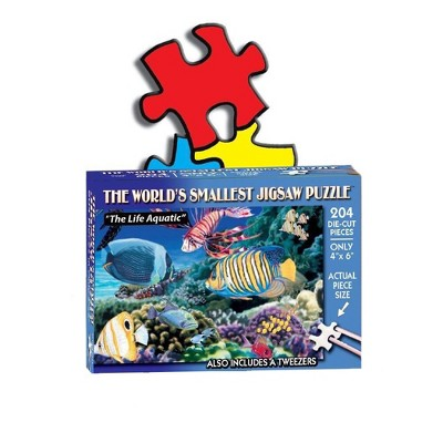 TDC Games World's Smallest Jigsaw Puzzle - The Life Aquatic - Measures 4 x 6 inches when assembled - Includes Tweezers