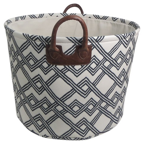 Round Fabric Basket with Handles - White with Geometric Pattern - Threshold™ - image 1 of 1