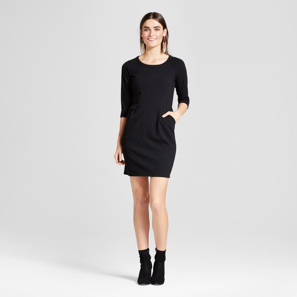 Women's Scoop Neck Sheath Dress - Éclair Black XL