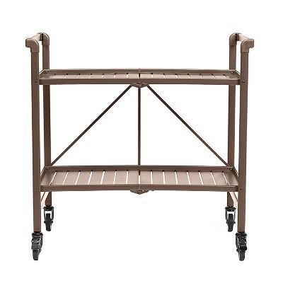 Indoor - Outdoor Folding Serving Cart - Brown - Cosco