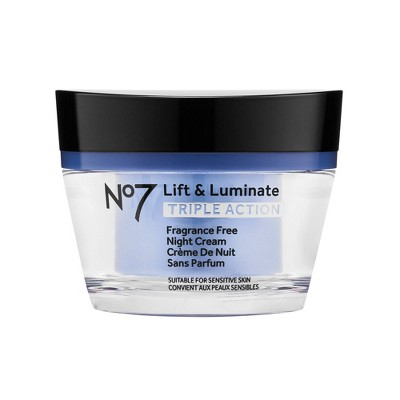 No7 Lift & Luminate Triple Action Fragrance Free Night Cream - 1.69 fl oz