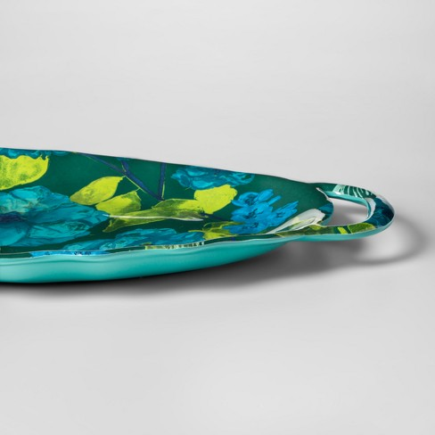 Oval Melamine Serving Tray With Handles Floral 11 X 20 Bluegreen