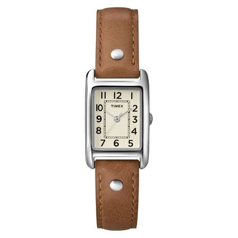 79827f92b Women's Timex Watch With Leather Strap - Silver/Brown T2N905JT : Target