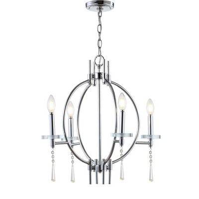 "23"" LED Crystal/Metal Laura Pendant Chrome - Jonathan Y"