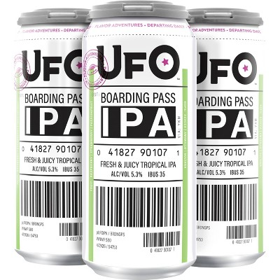 UFO Boarding Pass IPA Beer - 4pk/16 fl oz Cans