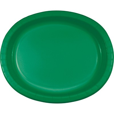 24ct Emerald Green Oval Plates Green