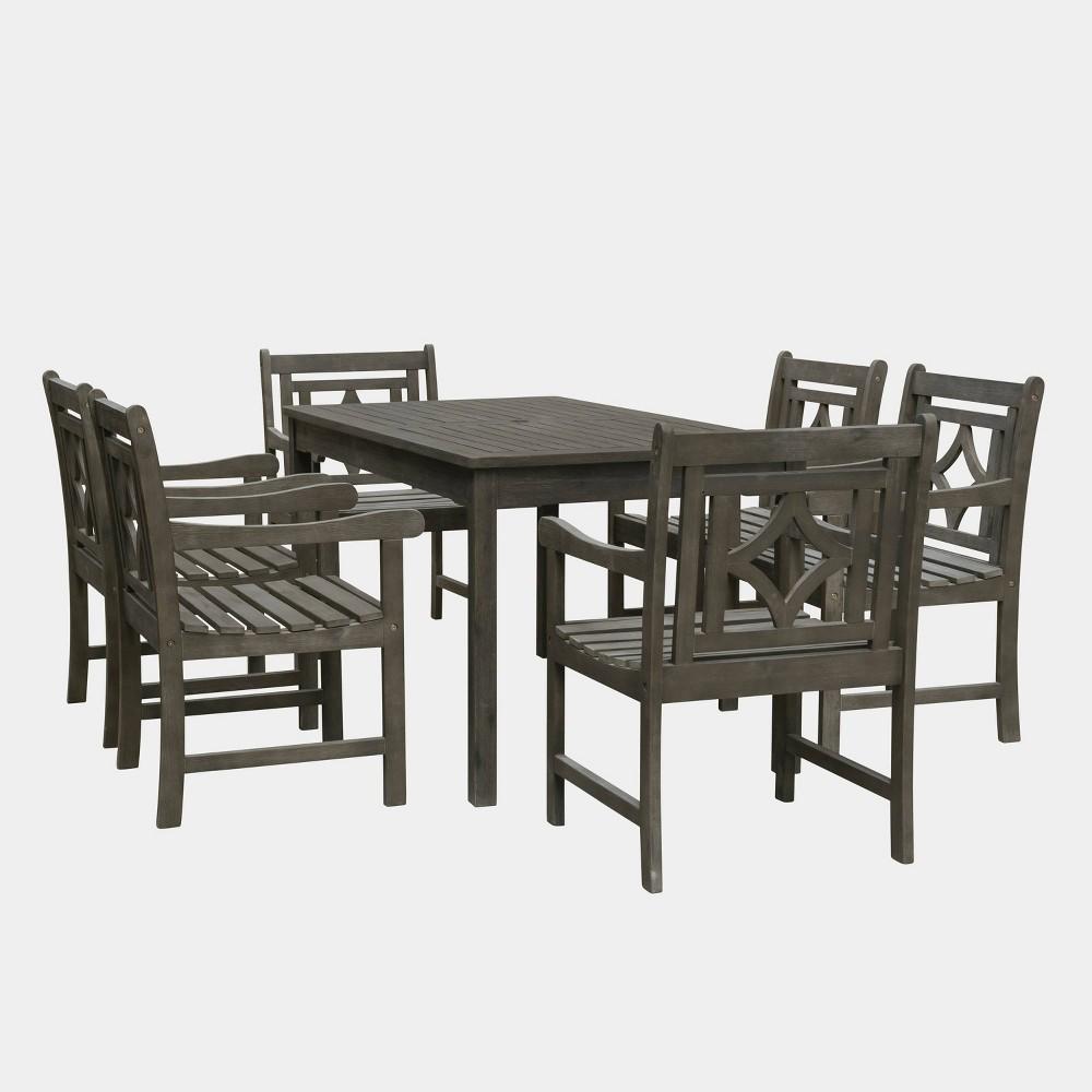 Renaissance 7pc Rectangle Wood Outdoor Patio Dining Set - Gray - Vifah
