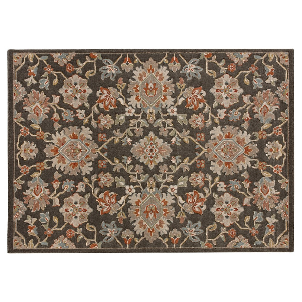 Saskia Medallion Rug - Brown - (5x7') - Balta, Gray Green Orange