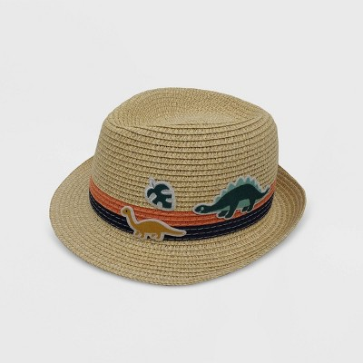 Toddler Boys' Dino Straw Fedora Hat - Cat & Jack™ Brown 12-24M