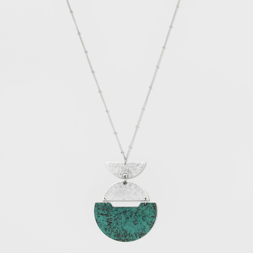 Geometric Patina Pendant Necklace - Universal Thread Medium Silver