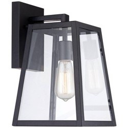"John Timberland Modern Outdoor Wall Light Fixture Black 13"" Clear Glass Edison style bulb for Exterior House Porch Patio"