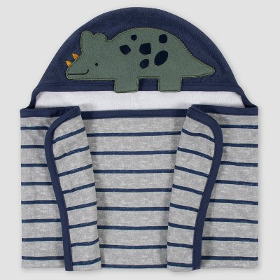 Gerber Baby Boys' Dino Hooded Bath Wrap - Blue