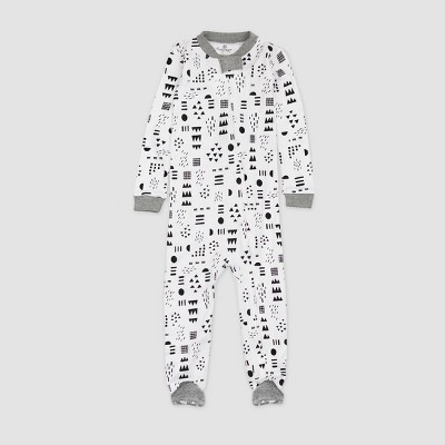 Honest Baby Play Organic Cotton Footed Pajama - White 12M