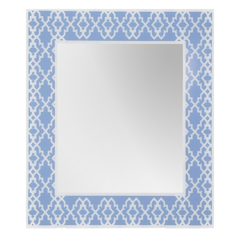 "Rectangular Beveled Frameless Wall Mirror with Silk Screened Periwinkle Geomoetric Pattern Embedded Border Blue 24"" X 28"" - Breeze Point - image 1 of 3"