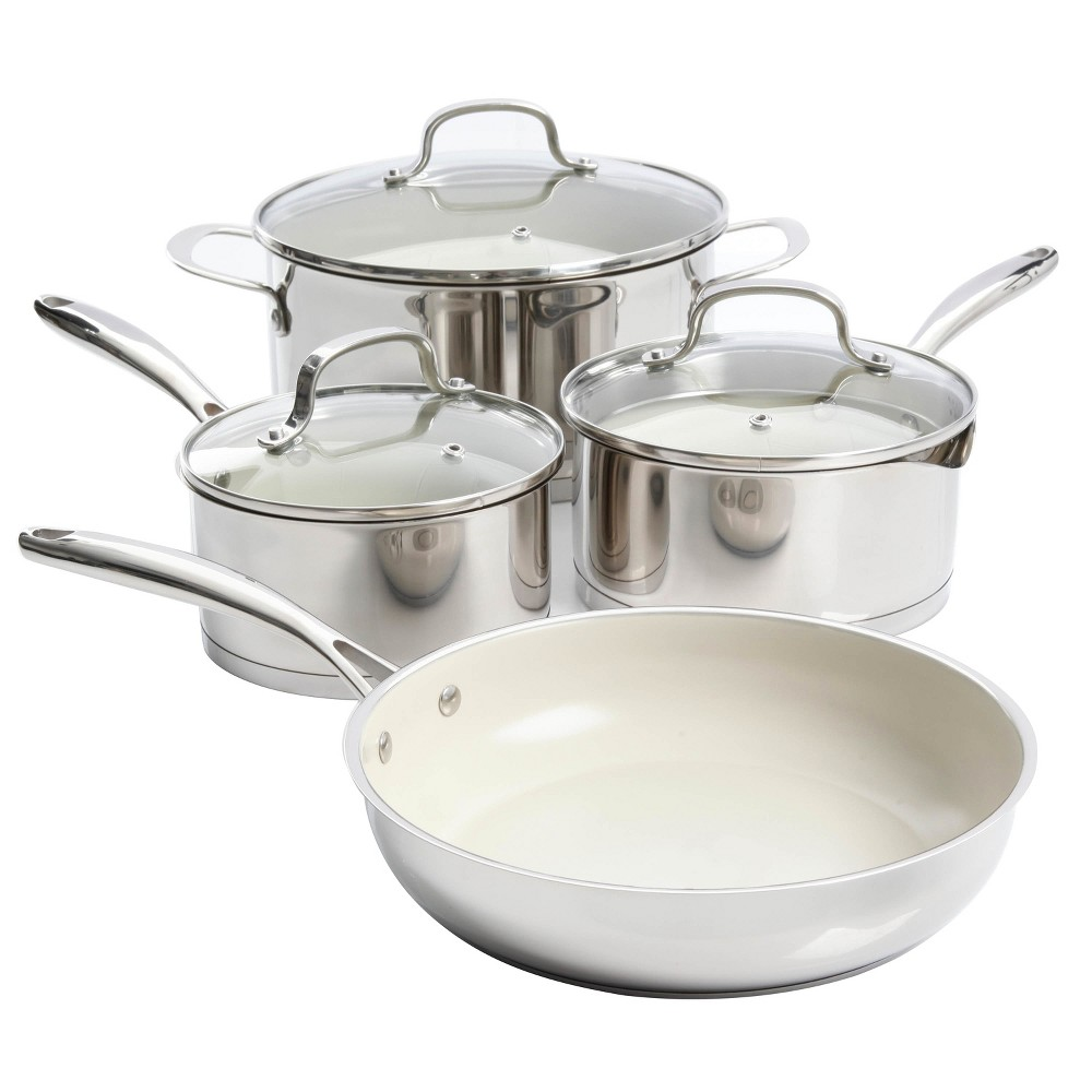 Gibson Home Gleaming 7pc Cookware Set, Silver