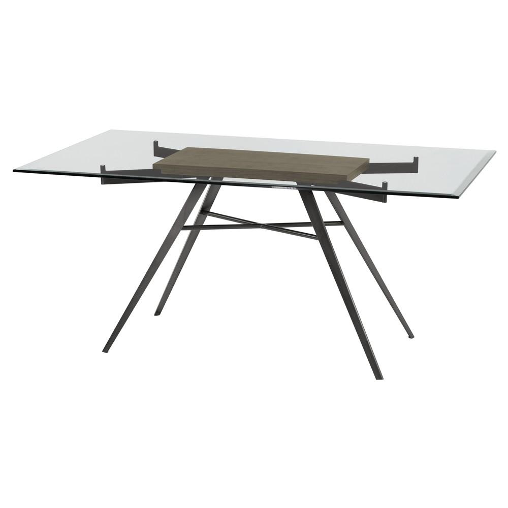 Armen Living Leah Contemporary Rectangular Dining Table Gray Walnut