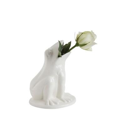 Stoneware Frog Vase (7.5 )- White - 3R Studios