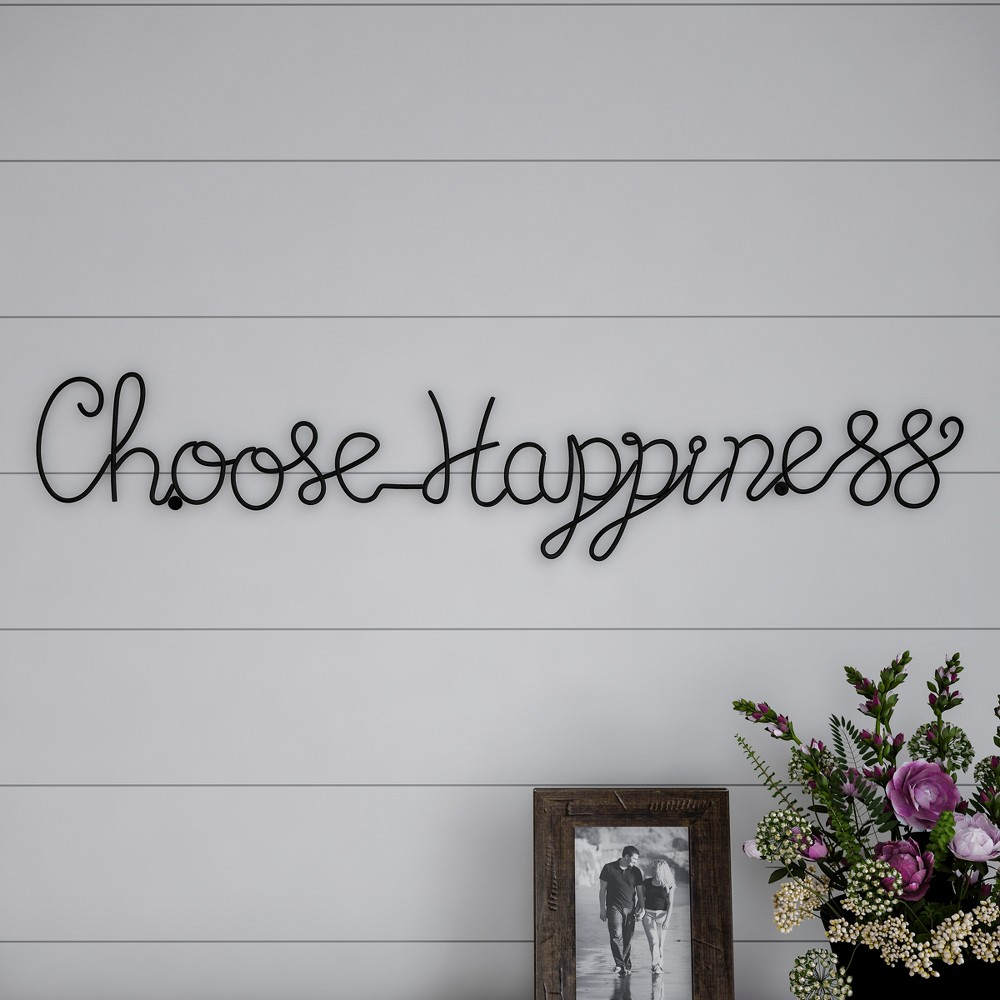 "Image of """"""Choose Happiness"""" Cursive Metal Cutout Sign Black - Lavish Home"""