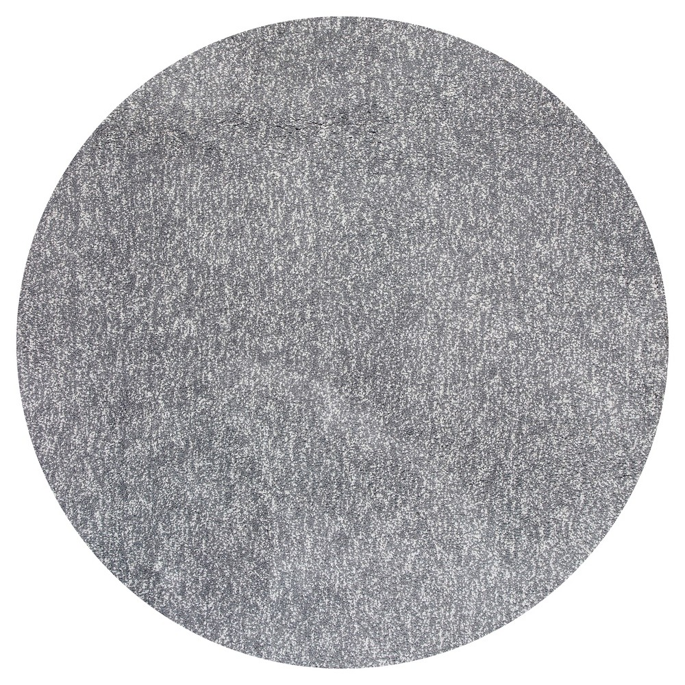 Gray Solid Woven Round Area Rug 6' - Kas Rugs