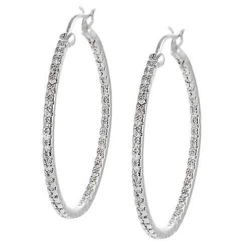 1 1/10 CT. T.W. Round-cut Cubic Zirconia Pave Set 28 MM Hoop Earrings in Sterling Silver - Silver - image 1 of 2