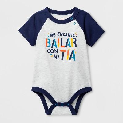 Baby Boys'  Me Encanta Bailar con Mi Tia  Short Sleeve Bodysuit - Cat & Jack™ Gray 3-6M