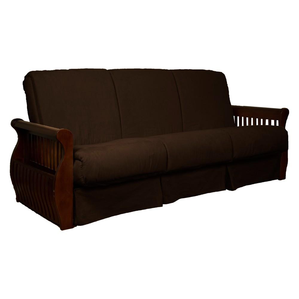 Storage Arm Perfect Futon Sofa Sleeper Walnut Wood Finish Chocolate Brown - Epic Furnishings