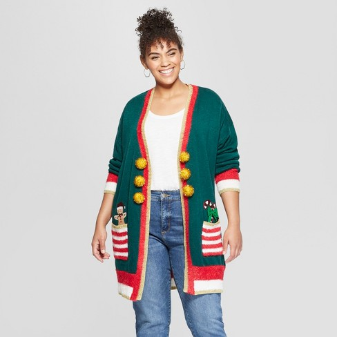 Womens Plus Size Christmas Elf Candy Cane Cardigan Ugly Sweater