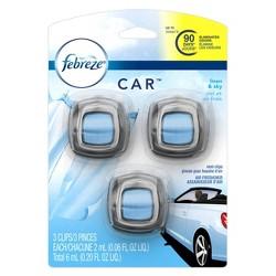 Febreze Linen & Sky Car Air Freshener Vent Clips - 3ct/0.06 fl oz