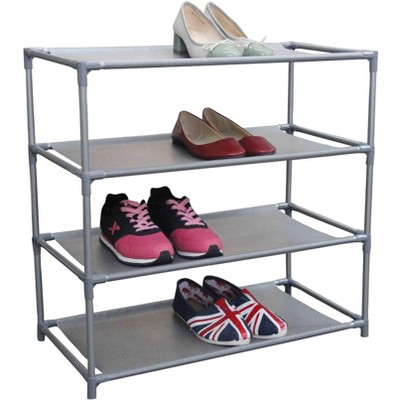 Home Basics 12 Pair Non-Woven Multi-Purpose Stackable Free-Standing Shoe Rack, Grey