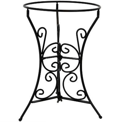"11""H Decorative Scroll Gazing Ball Stand - Black - Sunnydaze Decor"