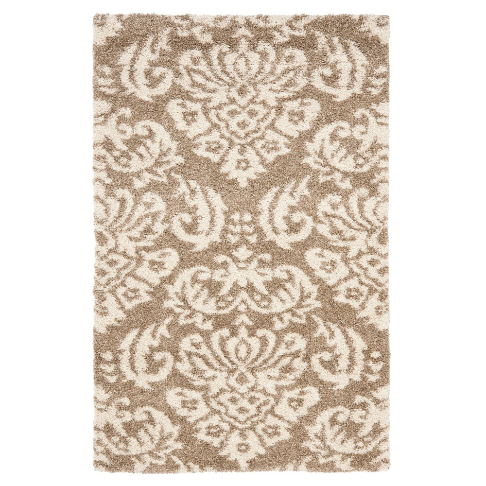 Beige/Cream Abstract Loomed Accent Rug - (3'3