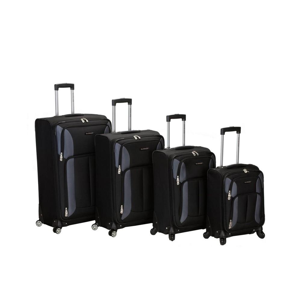 Image of Rockland Impact 4pc Spinner Luggage Set - Black