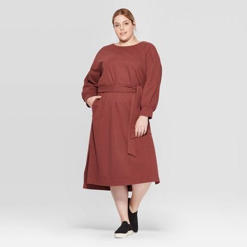 Women\'s Plus Size Long Sleeve Boat Neck Midi Sweater Dress - Prologue™