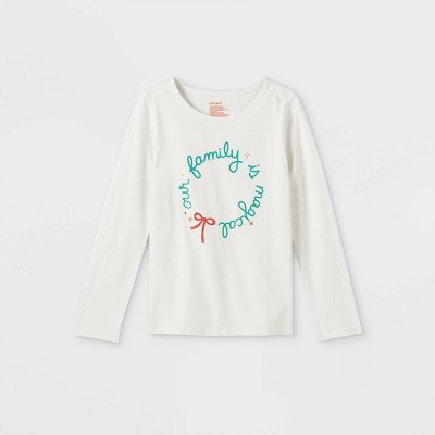 Girls' Adaptive Christmas 'Our Family' Long Sleeve Graphic T-Shirt - Cat & Jack™ Cream