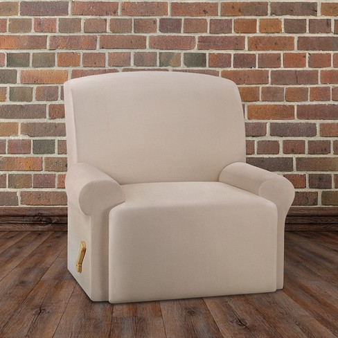 Ultimate Stretch Leather Recliner Slipcover Pebbled Ivory Sure Fit Target
