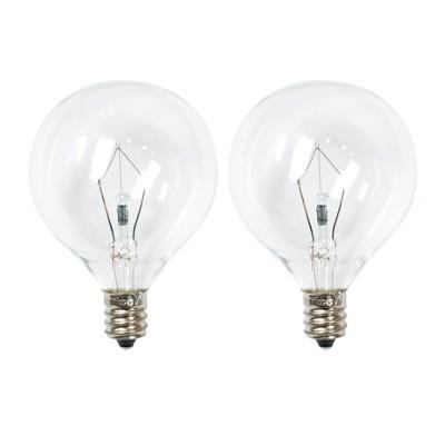 25-Watt 2pk G50 Incandescent Light Bulbs for Wax Warmers Clear - ADOR