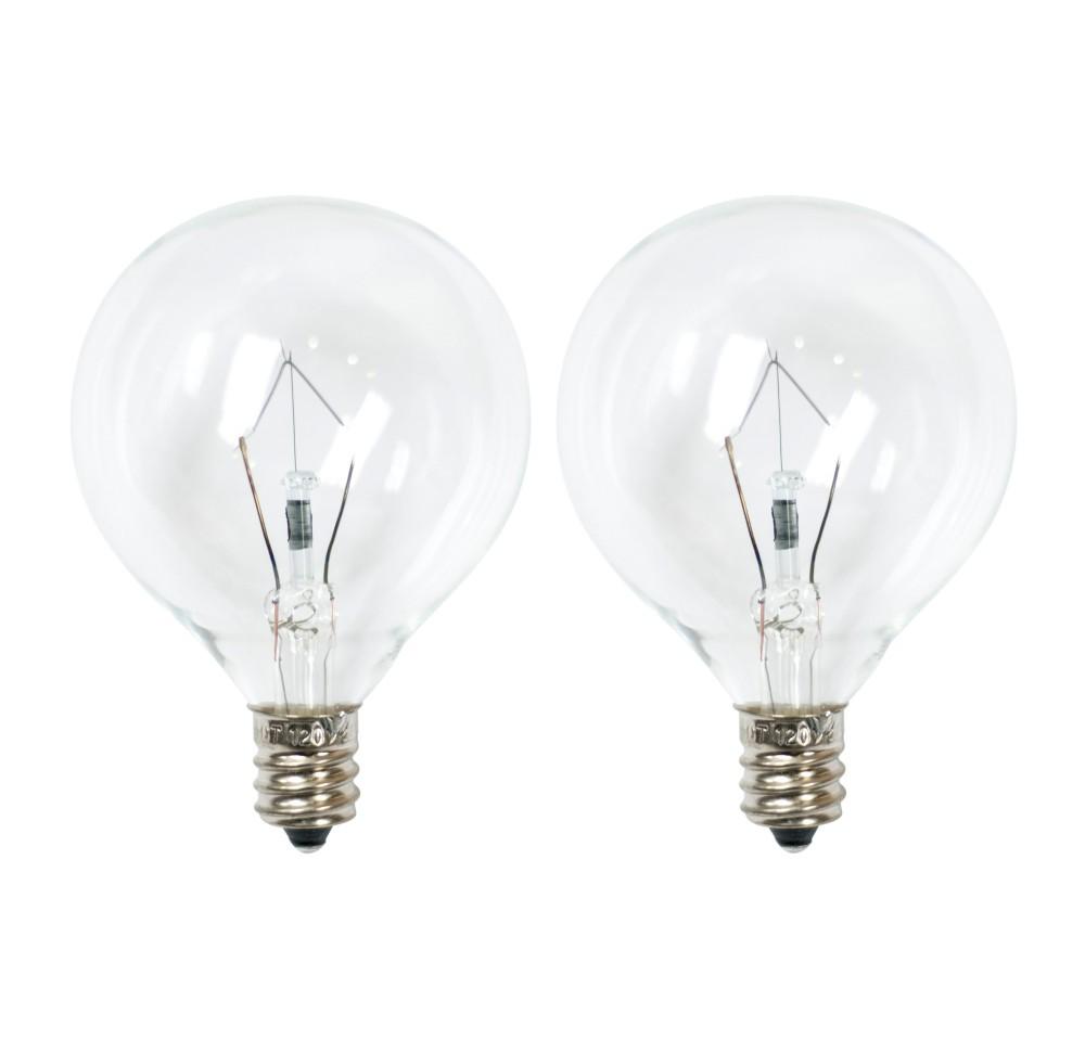 Image of 25-Watt 2pk G50 Incandescent Light Bulbs for Wax Warmers Clear - Ador