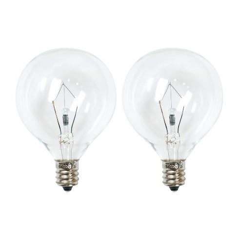 25 Watt 2pk G50 Incandescent Light Bulbs For Wax Warmers Clear Ador