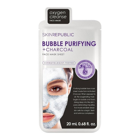 Skin Republic Bubble Purifying and Charcoal Face Mask Sheet - 0.68 fl oz - image 1 of 4