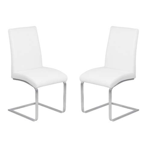 Blanca Contemporary Dining Chair Set of 2 Faux Leather with Brushed Stainless Steel Finish - Armen Living - image 1 of 7