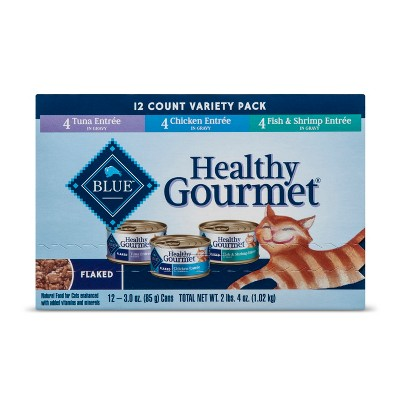 Blue Buffalo Healthy Gourmet Adult Flaked (Variety Pack)- Wet Cat Food - 12ct
