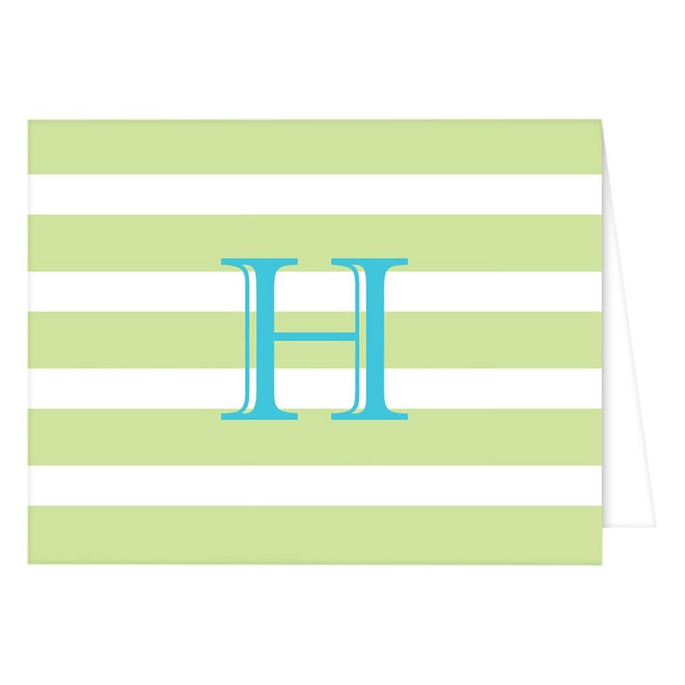 RosanneBECK Collections Light Green Folded Notes - Cabana Stripe Monogram - H