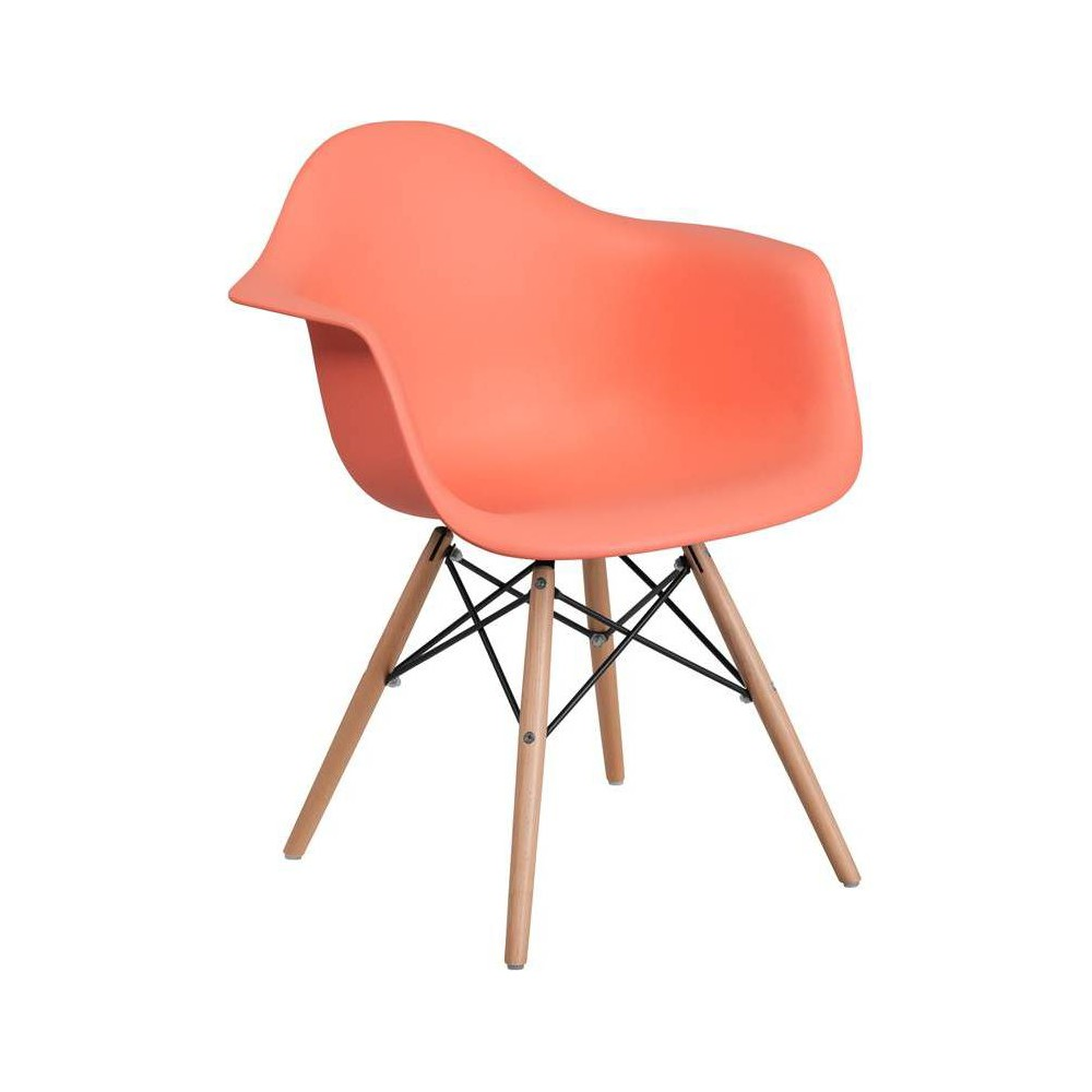 Image of Alonza Series Plastic Chair with Arms and Wooden Legs Peach - Riverstone Furniture Collection