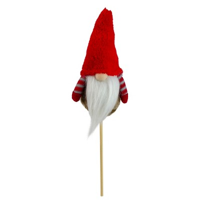 """Northlight 11.5"""" Tiny Gray Faux Fur Santa Gnome with Red Hat and Striped Arms on a Stick Christmas Decoration"""