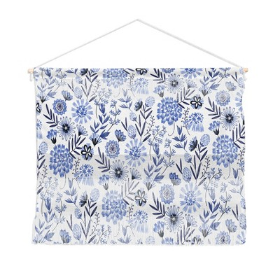 22 x16  3pc Pimlada Phuapradit Blue And White Floral Wall Hanging Landscape Tapestries Blue - Deny Designs