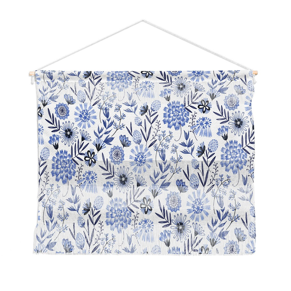 22x16 3pc Pimlada Phuapradit Blue And White Floral Wall Hanging Landscape Tapestries Blue - Deny Designs