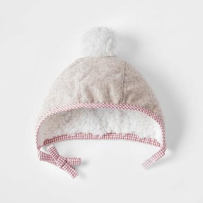 Toddler Girls' Gingham Sherpa Bonnet Hat - Cat & Jack™ Oatmeal Heather Newborn