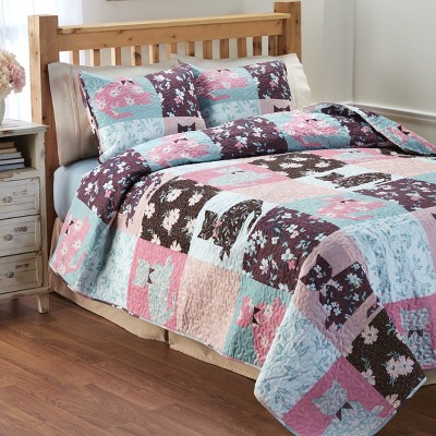 Lakeside Floral Felines Pet Themed Bedding Quilt Set with Pillow Shams