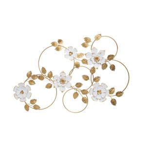 39 5 X 30 Inch Distressed White And Gold Metal Floral Wall Décor Foreside Home Garden Target